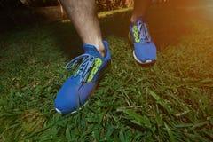 Man waring modern running shoes Stock Image