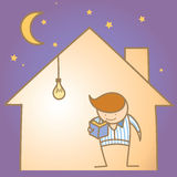 Man in the warm and light house. Cartoon character of man in the warm and light house Stock Images