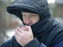Man Warming Hands royalty free stock photos