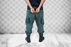 The man was bound by hand in the handcuff Stock Photography