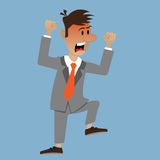 The man was red with anger. Businessman waving his arms. vector illustration Royalty Free Stock Image