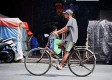 Cycling in Yogyakarta stock photo