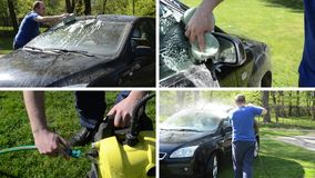 Man wash car with sponge and high pressure tool. Clips collage. Man wash his favorite car with sponge and high pressure equipment in garden. Montage of video stock video
