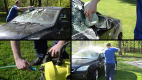 Man wash car with sponge and high pressure tool. Video collage. Man wash his favorite car with sponge and high pressure equipment in garden. Montage of video stock footage