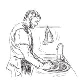 Man washes dishes. Hand drawn sketch Royalty Free Stock Photos