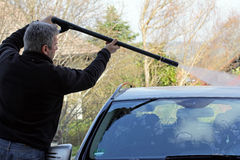 A man washes his car Royalty Free Stock Photo