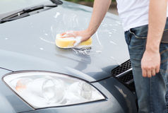 Man washing a car Royalty Free Stock Photo