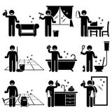 Man washing and cleaning house cliparts stock illustration