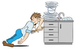 Man is washing the dishes in despair. Vector illustration of a man is washing the dishes in despair Stock Images