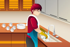 Man washing dishes. A vector illustration of man washing dishes in the kitchen Stock Image