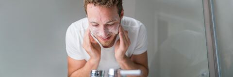 Free Man Washing Face Banner Panorama. Person Cleansing With Facial Cleanser Face Wash Soap In Bathroom Sink At Home Stock Photography - 194297912