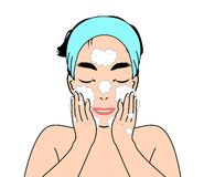 Man washing face stock illustration