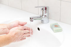 Man washing. Hands with soap Royalty Free Stock Image
