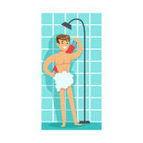 Man Washing Himself With Washcloth In Shower, Part Of People In The Bathroom Doing Their Routine Hygiene Procedures Stock Photography
