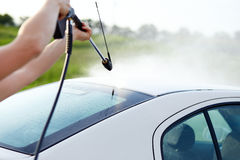 Man washing his car Royalty Free Stock Photography