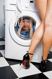 Man in the washing machine Royalty Free Stock Images