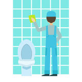 Man Washing Tiles In Bathroom, Cleaning Service Professional Cleaner In Uniform Cleaning In The Household. Person Working In Housekeeping At Work Doing Clean Royalty Free Stock Images