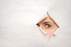 Man watches through a hole Royalty Free Stock Photography