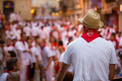 Man Watches San Fermin Stock Photos