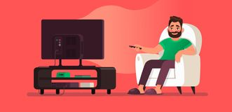 Free Man Watches TV While Sitting In A Chair. View Your Favorite Television Show Or Movie Stock Images - 150640464