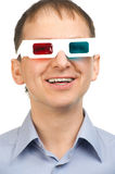 Man watching a 3D movie stock image