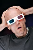 Man Watching 3D Movies Stock Images