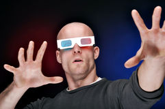 Man Watching 3D Movies Stock Photos