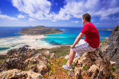 Man watching beautiful Balos beach on Crete Stock Images