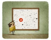 Man watching contemporary painting Stock Photos