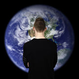Man watching earth Royalty Free Stock Images