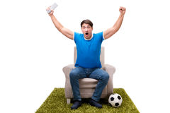The man watching football isolated on white Royalty Free Stock Images