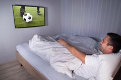 Man watching football match Royalty Free Stock Images
