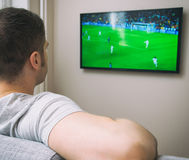 Man watching football. Stock Photography