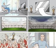 Man watching football storyboard. Man watching football on tv storyboard stock illustration