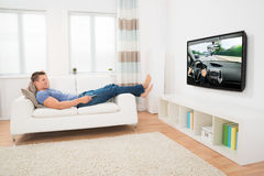 Man Watching Movie At Home Royalty Free Stock Image