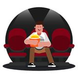 Man watching movie royalty free illustration