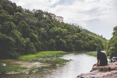 Man watching river Royalty Free Stock Image
