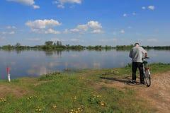 Man watching on the river Vistula Royalty Free Stock Photos