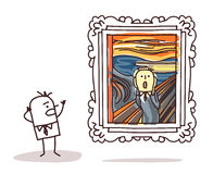 Man watching the Scream imitation Stock Image