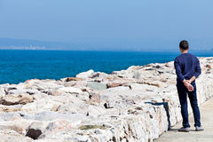 Man Watching The Sea Stock Photography