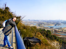 A man watching Shanghai ChenShan Botanical Garden winter view Stock Image