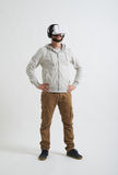 A man watching something in virtual reality glasses Royalty Free Stock Photo
