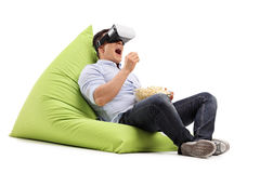 Man watching something on a VR goggles Royalty Free Stock Images