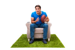The man watching sports isolated on white background Stock Image