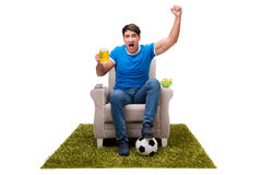 The man watching sports isolated on white background Royalty Free Stock Photo