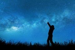 Man watching the stars stock photos