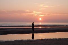 Man watching at the sunrise Stock Photos