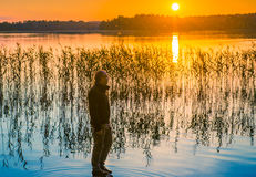 Man watching sunset Royalty Free Stock Photography