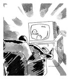 Man watching television. Black and white illustration of man with bottle in his hand watch tv Stock Image