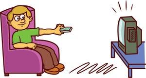 Man Watching Television Cartoon Illustration Stock Image